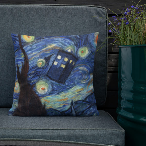 "Doctor Who Decorative Throw Pillow ""Starry Night"", Tardis Accent Pillow For Couch, Sofa, Chair, Bed"