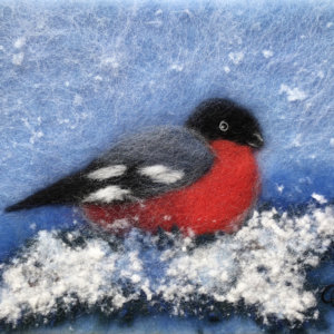 "Wool Painting ""Bullfinch On A Pine Branch"" by Oksana Ball"