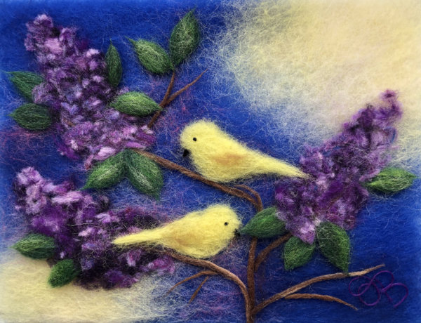 "Wool Painting ""Birds On Branches Of Lilacs"" by Oksana Ball"