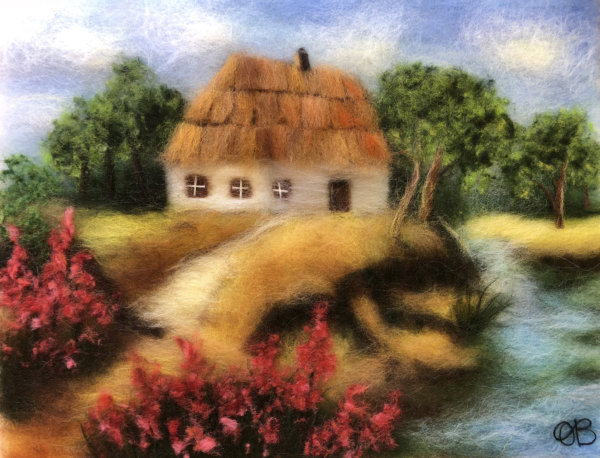 "Wool Painting ""House Near The River"" by Oksana Ball"