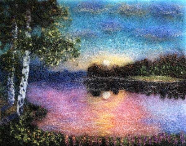 "Wool Painting ""Summer Sunset"" by Oksana Ball"