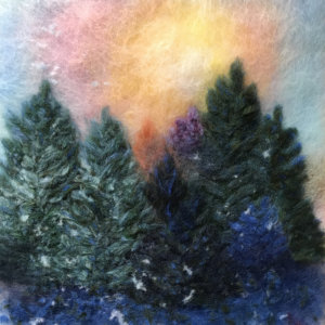 "Wool Painting ""Sunset In The Forest"" by Oksana Ball"