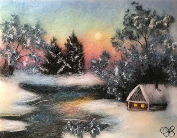 "Wool Painting ""Winter Sun"" by Oksana Ball"
