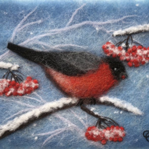 "Wool Painting ""Red Bullfinch"" by Oksana Ball"