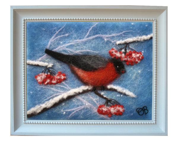 "Wool Painting ""Red Bullfinch"" by Oksana Ball"