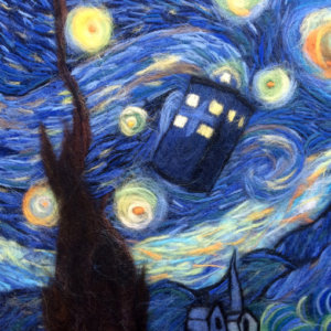 "Wool Painting ""Starry Night Tardis"" by Oksana Ball"