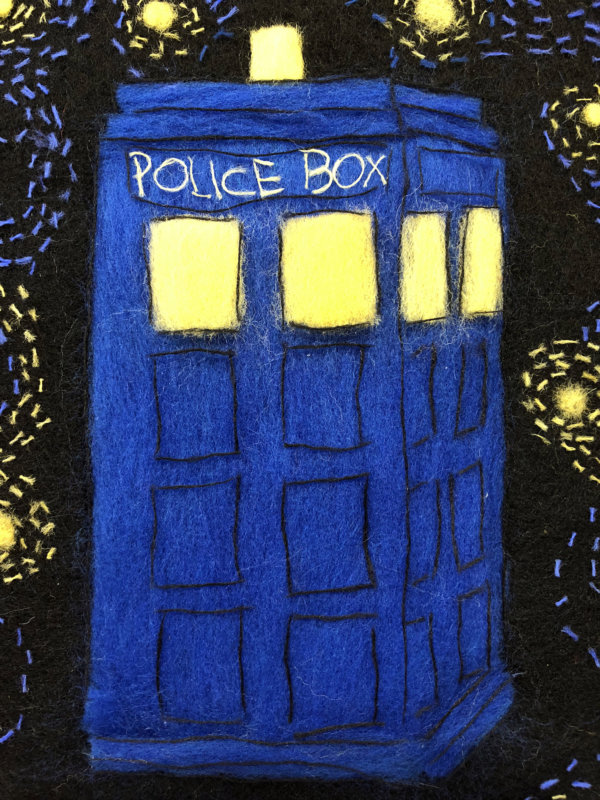 "Wool Painting ""Tardis"" by Oksana Ball"