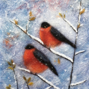 "Wool Painting ""Two Bullfinches"" by Oksana Ball"