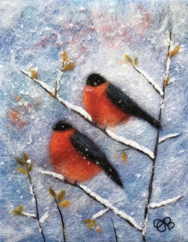 "Wool Painting ""Two Bullfinches"" by Oksana Ball"