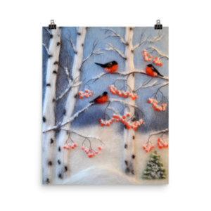 "Print ""Bullfinches In A Birch Grove"""