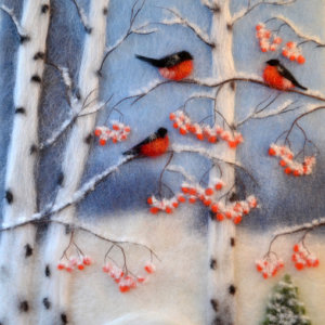 Original wool painting Bullfinches in a birch grove by Oksana Ball, Winter landscape painting, Wildlife painting with wool, Fiber wall art decor