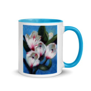 "Ceramic Coffee Mug With Color Inside ""White Tulips"""