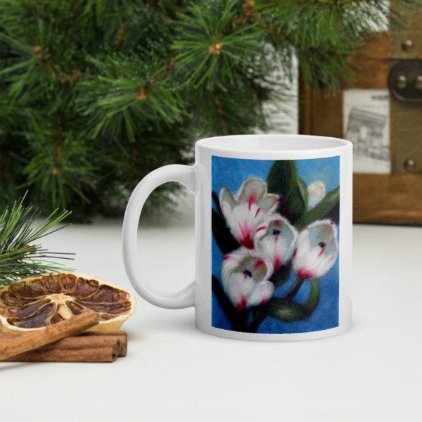 "Ceramic Coffee Mug ""White Tulips"""