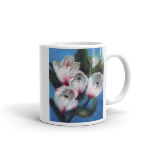 "Ceramic Coffee Mug ""White Tulips"""