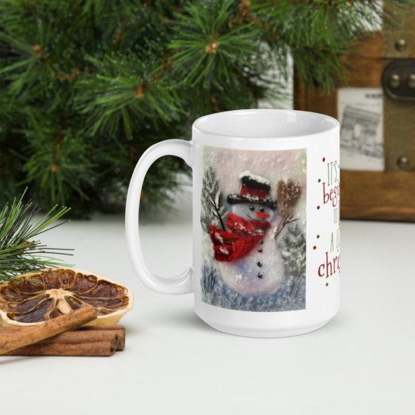 "Ceramic Coffee Mug ""Snowman With A Broom"""