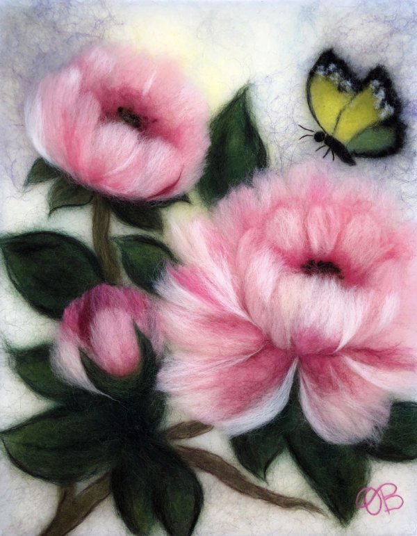 Original wool painting Peonies with butterfly by Oksana Ball, Floral painting, Nature painting with wool, Fiber wall art decor