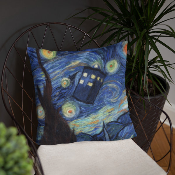"""Doctor Who Decorative Throw Pillow """"Starry Night"""", Tardis Accent Pillow For Couch, Sofa, Chair, Bed"""