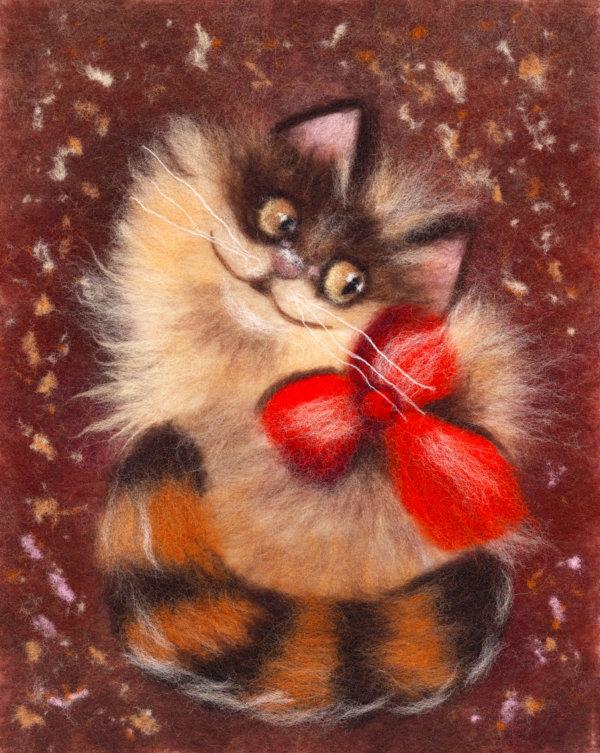 Original wool painting Ginger cat by Oksana Ball, Animal painting, Cat portrait painting with wool, Fiber wall art decor
