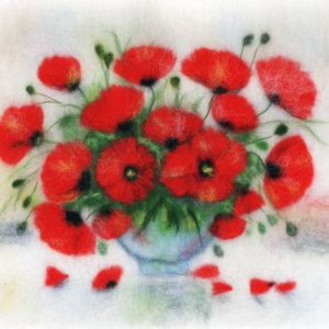 Original wool painting Bouquet of poppies by Oksana Ball, Still life painting, Floral painting with wool, Red poppies flowers, Fiber wall art decor