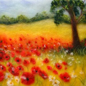Original wool painting Poppy field by Oksana Ball, Summer landscape painting, Nature painting with wool, Fiber wall art decor