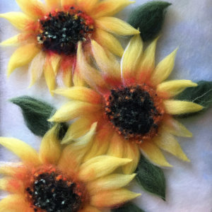 Original wool painting Sunflowers by Oksana Ball, Floral painting, Nature painting with wool, Fiber wall art decor
