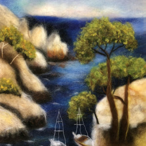 Original wool painting Boats in the cove by Oksana Ball, Summer landscape painting, Mountains painting with wool, Fiber wall art decor