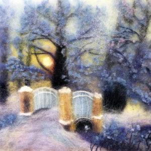 Original wool painting Bridge into winter by Oksana Ball, Winter landscape painting, Nature painting with wool, Fiber wall art decor