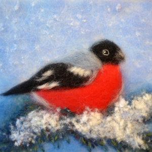 Original wool painting Bullfinch on a pine branch by Oksana Ball, Winter bird painting, Wildlife painting with wool, Fiber wall art decor