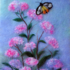 Original wool painting Butterfly in flowers by Oksana Ball, Floral painting, Wildlife painting with wool, Fiber wall art decor