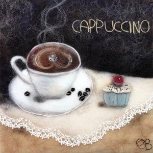 Original wool painting Cappuccino by Oksana Ball, Still life painting, Fiber wall art decor, Coffee