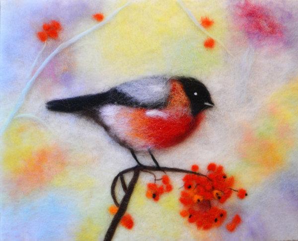 Original wool painting Colorful bullfinch by Oksana Ball, Bird painting, Wildlife painting with wool, Fiber wall art decor
