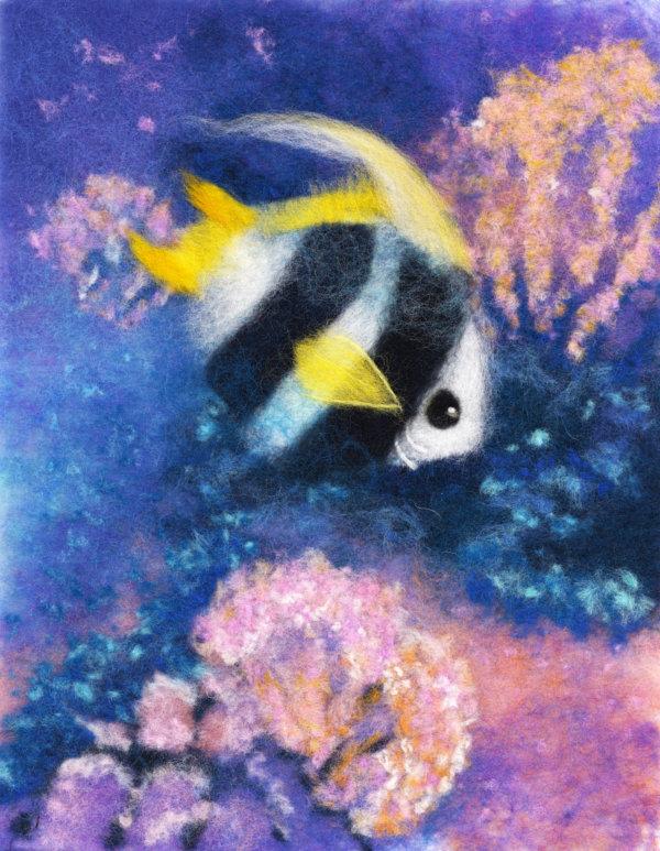 Original wool painting Fish under the sea by Oksana Ball, Nautical painting, Fiber wall art decor