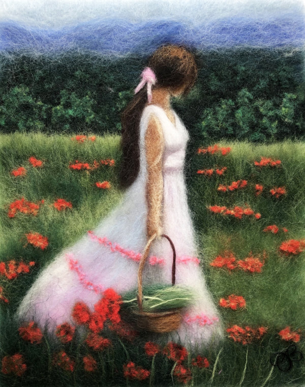 Original wool painting Girl in a poppy field by Oksana Ball, Summer landscape painting, Nature painting with wool, Fiber wall art decor