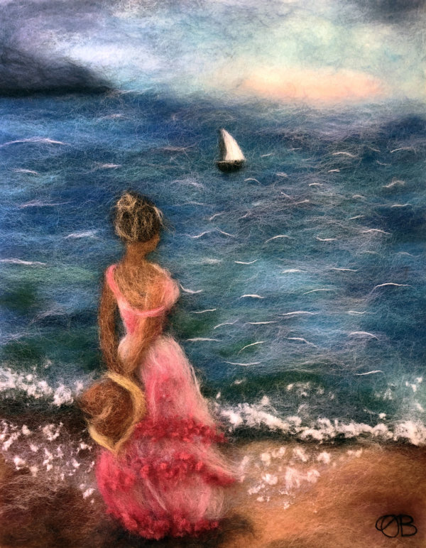 Original wool painting Girl by the sea by Oksana Ball, Summer landscape painting, Nature painting with wool, Fiber wall art decor