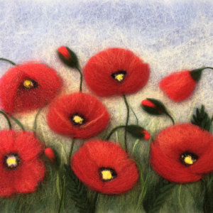 Original wool painting Field of poppies by Oksana Ball, Floral painting, Nature painting with wool, Fiber wall art decor, Red poppies flowers