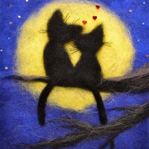 Original wool painting Romantic cats by Oksana Ball, Animal painting, Black cats painting with wool, Fiber wall art decor