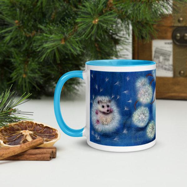 "Ceramic Coffee Mug With Color Inside ""Hedgelion"", Animal Hedgehog Mug, Dandelion Flower Mug, Floral Mug"